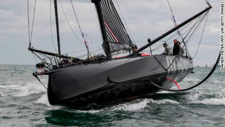 British skippers Alex Thomson and Neal McDonald near the start of the 2019 Transat Jacques Vabre race.