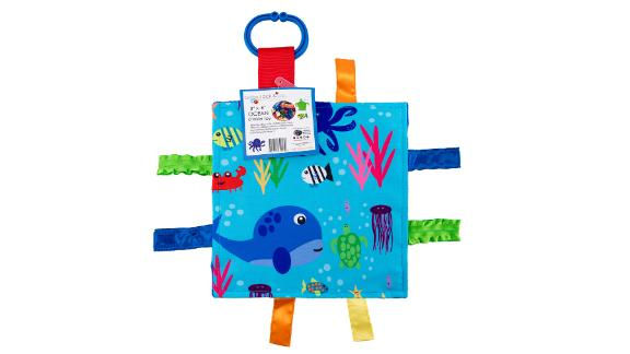 Baby Jack & Co. Sensory Crinkle Tag Square ($13.95; amazon.com): Babies love crinklies and ribbons. This take-along has a nice feature: The ribbons are sewn closed so little fingers don