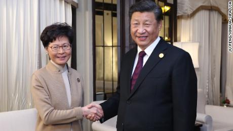 Chinese President Xi Jinping meets with CEO Kari Lam in Hong Kong on November 4.