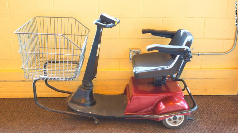 Police say a man was arrested after driving an electric shopping scooter from one bar to another.
