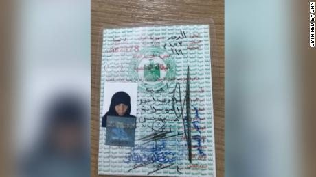 Awad's fake ID card identified her under the pseudonym Rajha Alllawi Ahmed.
