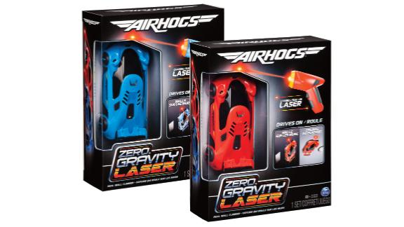 "AirHogs Zero Gravity Laser ($24.88; walmart.com): When he was little, did you tell him (again and again) to stop ""driving"" his cars on the wall? Then this toy will be a dream come true. Armed with the laser controller, your kid will have the car careening up walls and even across the ceiling. And no, it won"