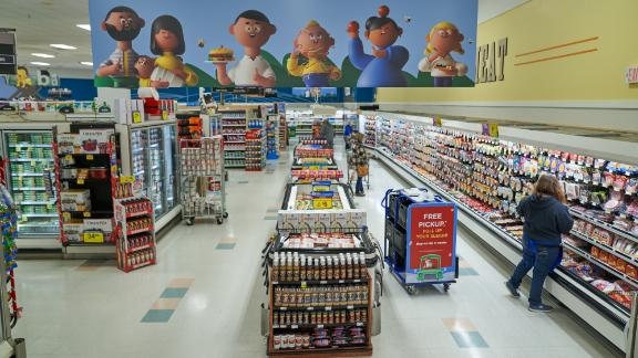 The interior of a Kroger featuring the new signage.