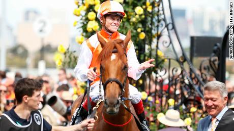 Craig Williams celebrates after riding Vow And Declare to win the 2019 Melbourne Cup at Flemington.