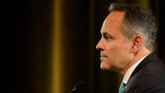 Gov. Matt Bevin listens to his opponent Andy Beshear respond to a question during the final Kentucky gubernatorial debate between incumbent Republican Matt Bevin and Democratic candidate Andy Beshear on Tuesday, October 29, 2019 in Highland Heights, Kentucky.