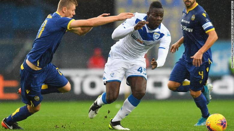 Brescia striker Mario Balotelli was racially abused by opposition Verona fans.