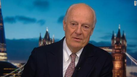 A screenshot of Staffan de Mistura, former U.N. Special Envoy to Syria, from his exclusive interview with CNN's Becky Anderson.