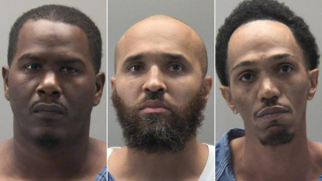 """Nathan S. Goddard Jr., left; Cahke W. Cortner Sr., center; and Lionel L. Combs, right, were arrested after a drug-raid that left an Ohio officer in """"grave"""" condition."""