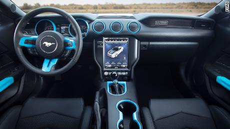 The Ford Mustang Lithium has a six-speed manual transmission, a very unusual feature of an electric car.