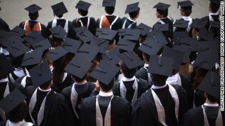Students pose for graduation photos. A new report from UK lawmakers has warned about Chinese influence on British campuses.