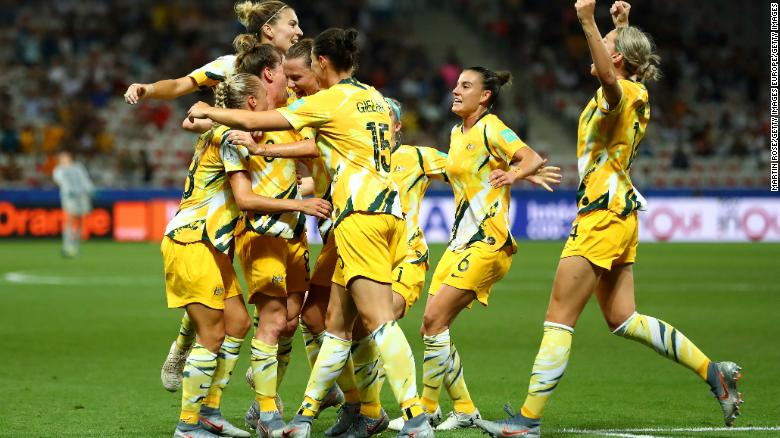 Elise Kellond-Knight of Australia celebrates with teammates after scoring her team's first goal during the 2019 FIFA Women's World Cup match between Norway and Australia on June 22, 2019.