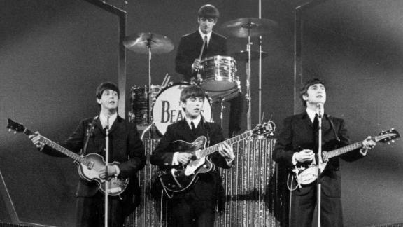 The Beatles on stage at the London Palladium.