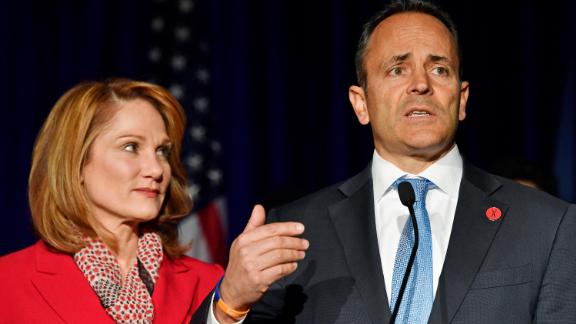 Kentucky Gov. Matt Bevin, right, with his wife Glenna, speaks to supporters gathered at the republican party celebration event in Louisville, Ky., Tuesday, November 5, 2019.