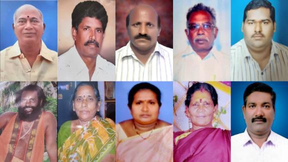 The 10 alleged victims of Vellanki Simhadri, who was arrested over their deaths. Top row, from left: Vallabhaneni Umamahewara, Pulpaparthi Thavitaiah, Kadiyala Bala Venkateswara Rao, Gandikota Venkata Bhaskara Rao. Bottom row, from left: Sir Sir Sir Ramakrishnananda Swamijee, Kothapalli Raghavamma, Samathakurthi Nagamani, Mulike Ramulamma, Kati Nagaraju.