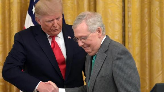 US President Donald Trump and US Senate Majority Leader Mitch McConnell(R) shake hands at the White House in Washington, DC, on November 6, 2019.