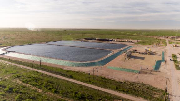 A pump station in the water infrastructure system that supports Pioneer Natural Resources fracking operations in Midland, Texas.