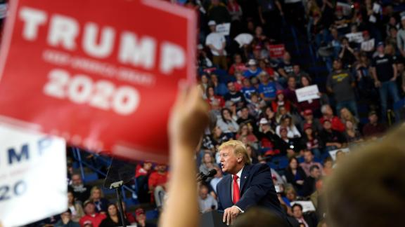 President Donald Trump speaks during a campaign rally in Lexington, Kentucky, Monday, November 4.