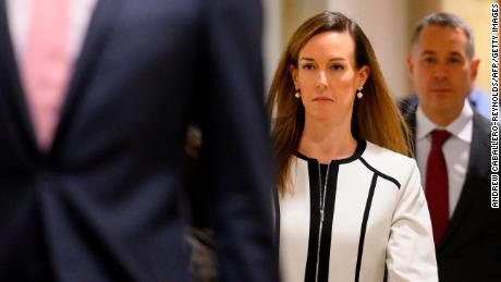 Jennifer Williams, an aide to US Vice President Mike Pence, arrives for a deposition as part of the House Impeachment inquiries on Capitol Hill in Washington, DC, November 7, 2019.