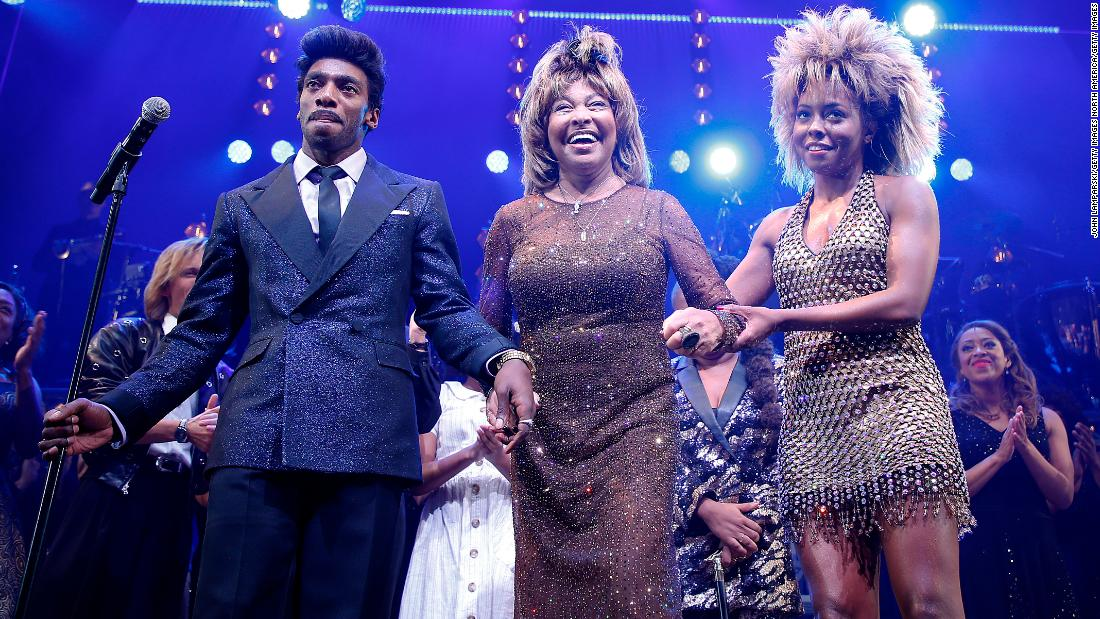 Tina Turner surprises A-list audience with a visit to the Broadway show based on her life