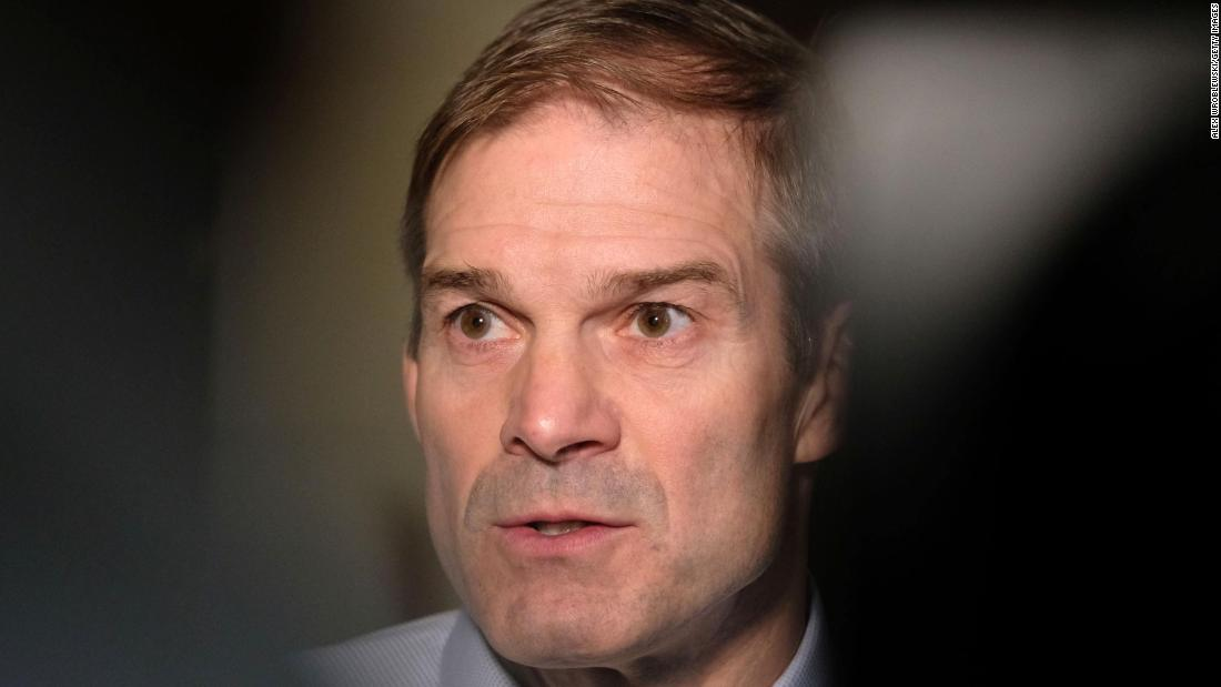 Republican Rep. Jim Jordan of Ohio speaks after a closed session before the House Intelligence, Foreign Affairs and Oversight committees on Capitol Hill.