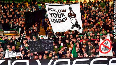 Celtic's fans display banners during the UEFA Europe League group stage match between Celtic and Lazio, at Celtic Park, on October 24, 2019, in Glasgow, Scotland. sup