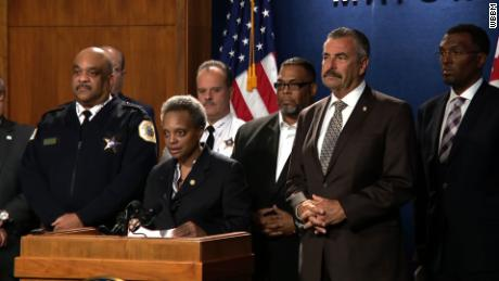 From left, Chicago Police Superintendent Eddie Johnson, Mayor Lori Lightfoot and former LAPD Chief Charlie Beck.