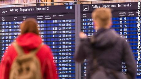 Lufthansa flights are marked as cancelled during the flight attendant strike.