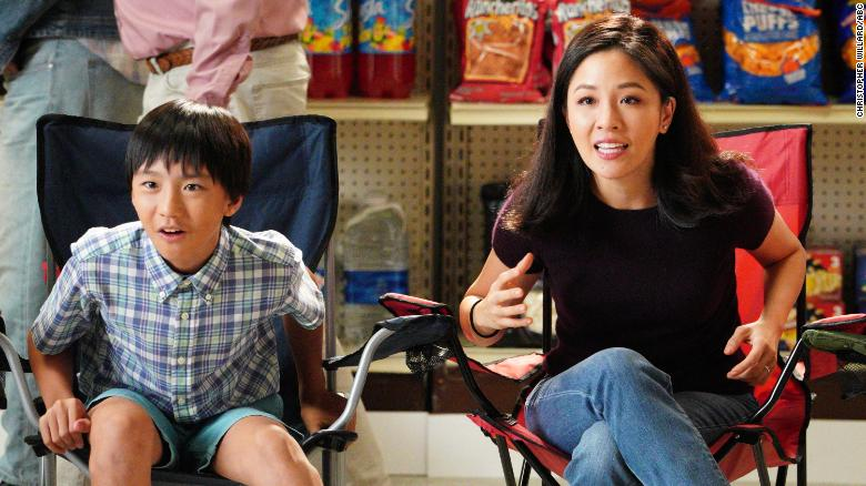 "Constance Wu, right, alongside Ian Chen. Wu plays matriarch Jessica Huang in ""Fresh Off The Boat,"" and Chen plays one of her sons, Evan."