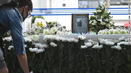 A memorial for Hong Kong University of Science and Technology student Chow Tsz-lok, 22, in Hong Kong on November 8, 2019.