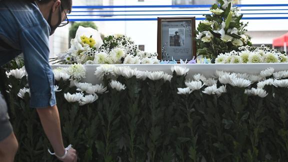 A memorial for Hong Kong University of Science and Technology student Chow Tsz-lok, 22, in Hong Kong on November 8, 2019.