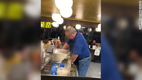 Crispo never got the man's name, but this man stepped in to serve behind the counter when an Alabama Waffle House had a staff shortage.