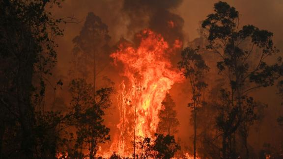 A fire rages in Bobin on November 9.