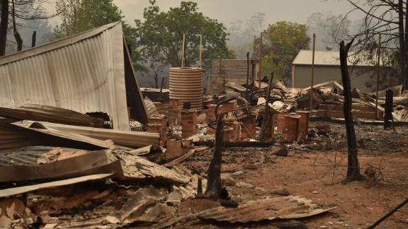 The remains of a property are seen in Bobin on November 9.