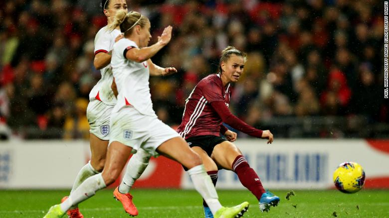 Klara Buhl scores Germany's winner in the 2-1 victory over England at Wembley Stadium watched by a record crowd of 77,768.