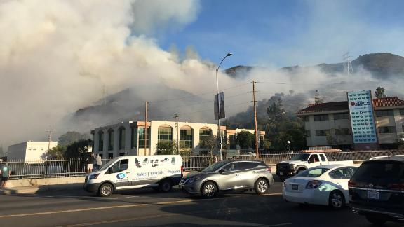 A CNN producer near Warner Bros. took this photo of the smoke.