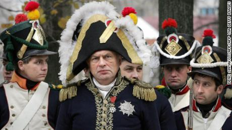 Oleg Sokolov, center, taking part in a re-enactment of the 1812 battle between Napoleon's army and Russian troops in 2005.