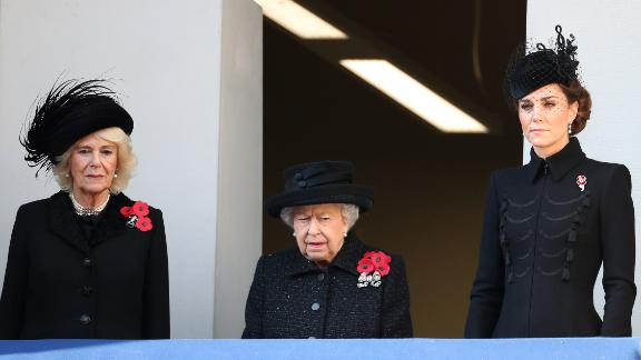 Camilla, Duchess of Cornwall, Queen Elizabeth II and  Catherine, Duchess of Cambridge attend the annual Remembrance Sunday memorial at The Cenotaph on November 10.