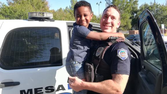Officer Valdez and Charlie Skabelund.
