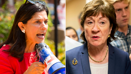 At left, Maine State House Speaker Sara Gideon, who is challenging Republican Sen. Susan Collins, at right.