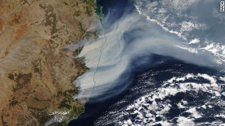 Bushfires in New South Wales are seen from space in this satellite imagery provided by NASA.