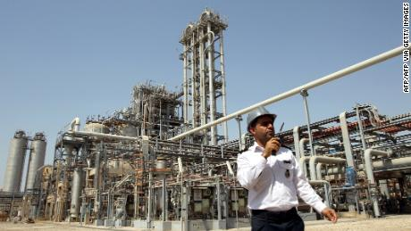 A security guard outside the Mahshahr Petrochemical Complex in the southwestern province of Khuzestan, an oil-rich region of Iran.