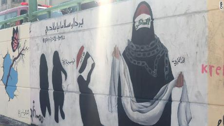 The murals show the plight of Iraqi women and mothers over the past 16 years.