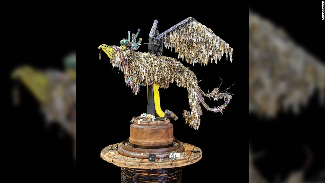Artist designs phoenix sculpture from donated keys of homes destroyed in the Paradise Camp Fire