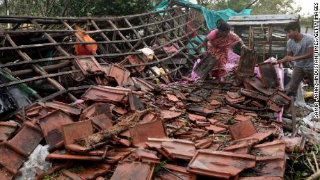 A view of destruction in the aftermath of cyclone Bulbul, at Amarabati village in Bakkhali, South 24 Parganas district of India's West Bengal state on November 10, 2019.