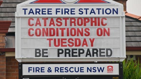 """A sign on a Taree fire station warns of """"catastrophic"""" fire conditions."""