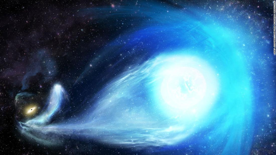 An artist's impression of the Milky Way's big black hole flinging a star from the galaxy's center.