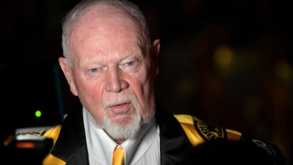 Don Cherry speaks with press prior to receiving the Hockey Legacy Award at the Sports Museum on November 28, 2018.