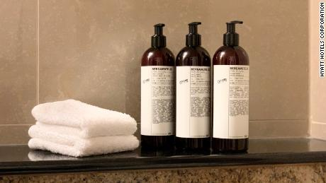 The new large-format bottles Hyatt Hotels will replace portable toiletries.
