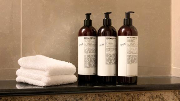 The new large-format bottles Hyatt Hotels will be replacing portable toiletries with.