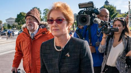 Former US ambassador to Ukraine Marie Yovanovitch, arrives on Capitol Hill on Friday, October 11.